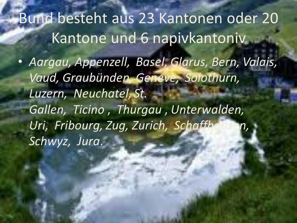 Bund besteht aus 23 Kantonen oder 20 Kantone und 6 napivkantoniv Aargau, Appenzell, Basel, Glarus, Bern, Valais, Vaud, Graubünden, Geneve, Solothurn,