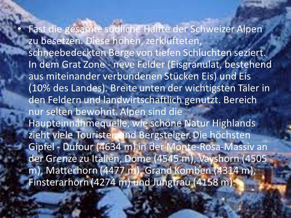 Fast die gesamte südliche Hälfte der Schweizer Alpen zu besetzen. Diese hohen, zerklüfteten, schneebedeckten Berge von tiefen Schluchten seziert. In d