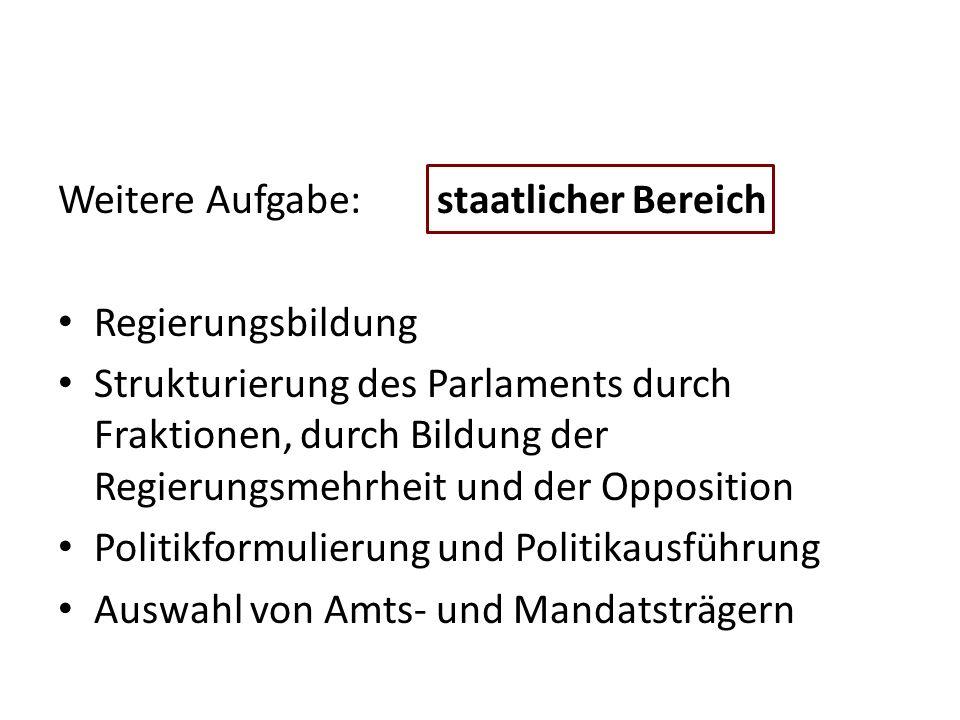 Weitere Aufgabe: staatlicher Bereich Regierungsbildung Strukturierung des Parlaments durch Fraktionen, durch Bildung der Regierungsmehrheit und der Op