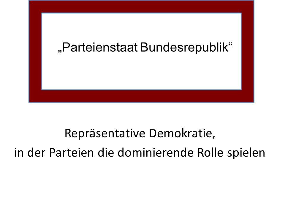 Parteienstaat Bundesrepublik Repräsentative Demokratie, in der Parteien die dominierende Rolle spielen