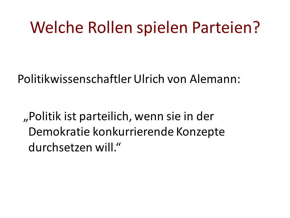 Welche Rollen spielen Parteien? Politikwissenschaftler Ulrich von Alemann: Politik ist parteilich, wenn sie in der Demokratie konkurrierende Konzepte