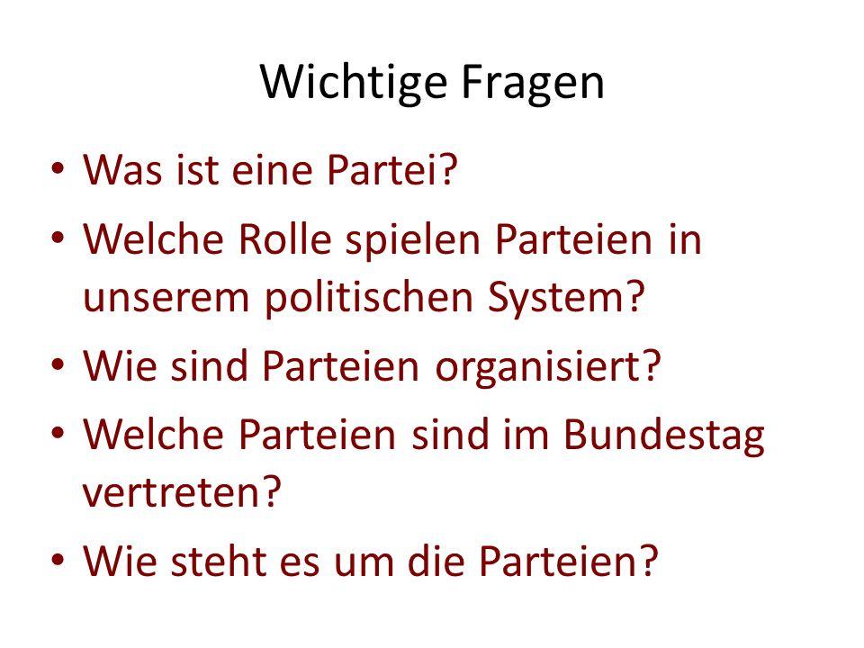 Wichtige Fragen Was ist eine Partei? Welche Rolle spielen Parteien in unserem politischen System? Wie sind Parteien organisiert? Welche Parteien sind