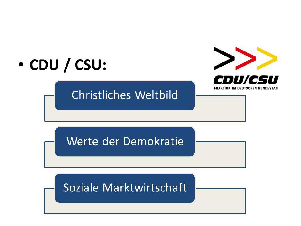 CDU / CSU: Christliches WeltbildWerte der DemokratieSoziale Marktwirtschaft