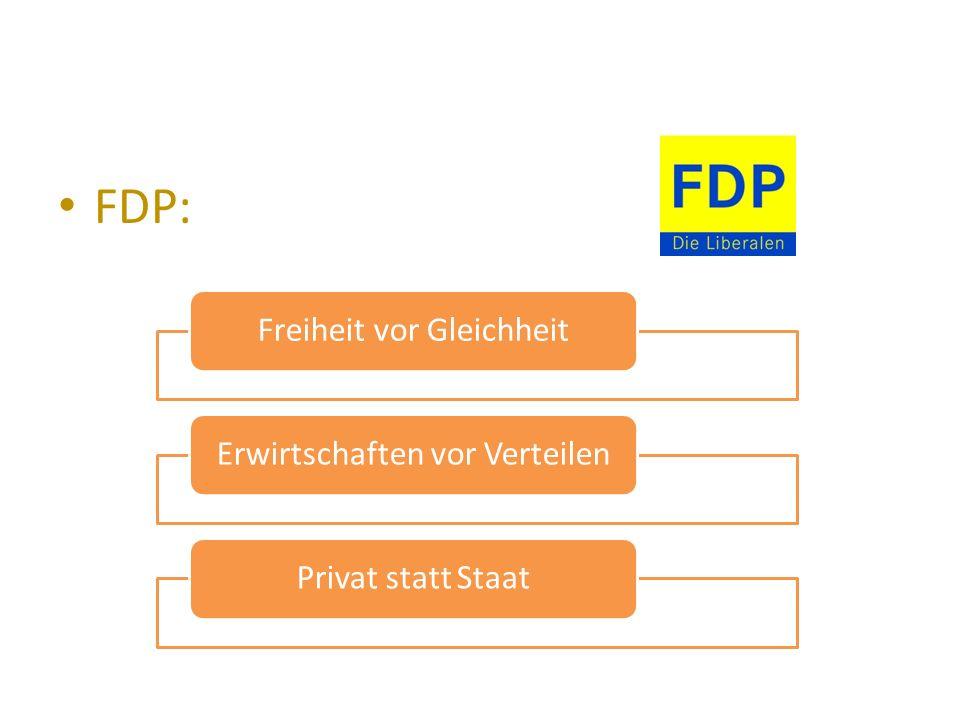 FDP: Freiheit vor GleichheitErwirtschaften vor VerteilenPrivat statt Staat