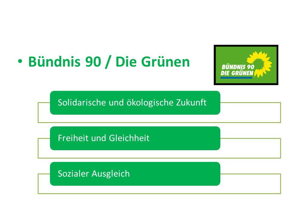 Bündnis 90 / Die Grünen Solidarische und ökologische ZukunftFreiheit und GleichheitSozialer Ausgleich