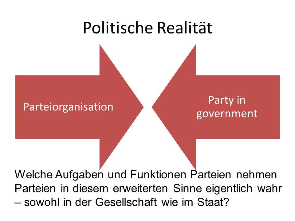 Politische Realität Parteiorganisation Party in government Welche Aufgaben und Funktionen Parteien nehmen Parteien in diesem erweiterten Sinne eigentl