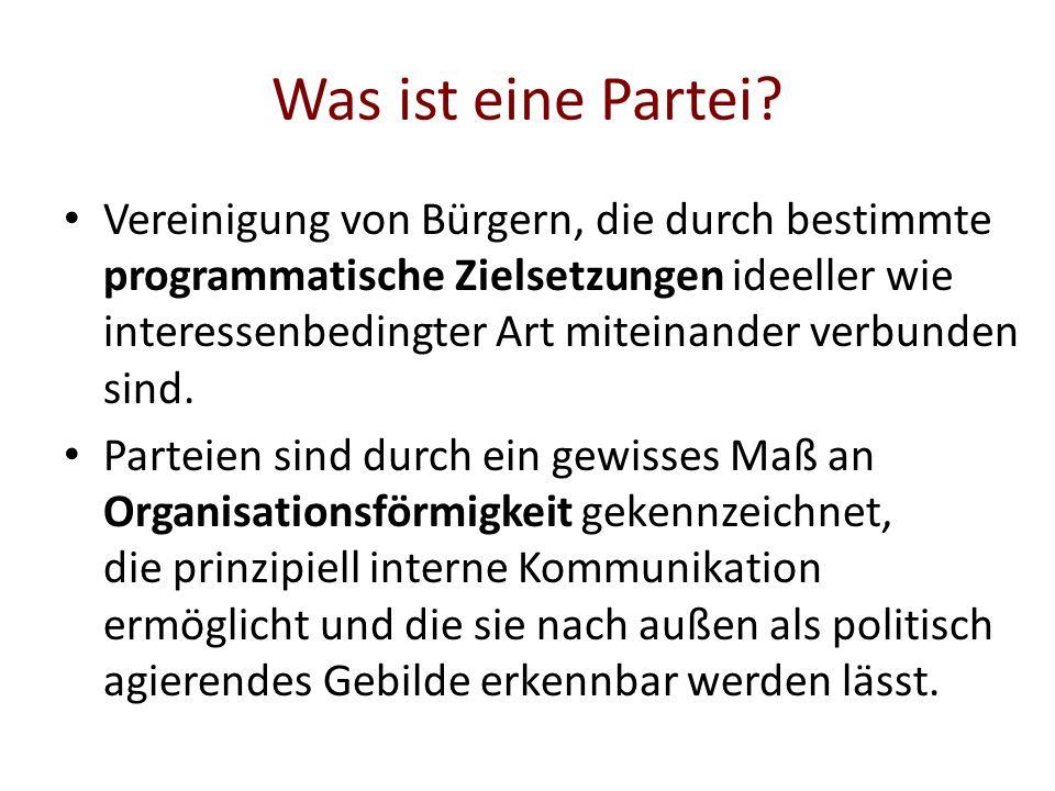 Was ist eine Partei? Vereinigung von Bürgern, die durch bestimmte programmatische Zielsetzungen ideeller wie interessenbedingter Art miteinander verbu
