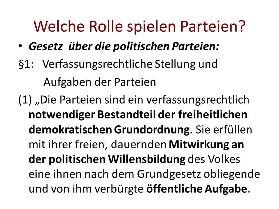 Welche Rolle spielen Parteien? Gesetz über die politischen Parteien: §1: Verfassungsrechtliche Stellung und Aufgaben der Parteien (1) Die Parteien sin