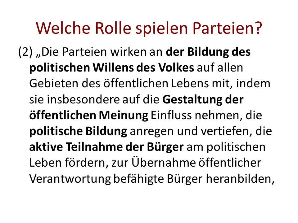 Welche Rolle spielen Parteien? (2) Die Parteien wirken an der Bildung des politischen Willens des Volkes auf allen Gebieten des öffentlichen Lebens mi