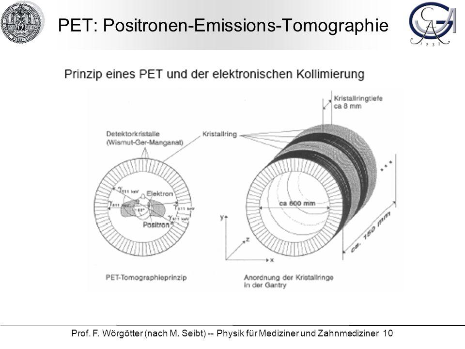 Prof. F. Wörgötter (nach M. Seibt) -- Physik für Mediziner und Zahnmediziner 10 PET: Positronen-Emissions-Tomographie