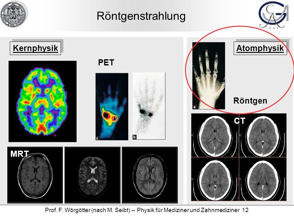 Prof. F. Wörgötter (nach M. Seibt) -- Physik für Mediziner und Zahnmediziner 12 Röntgenstrahlung Röntgen CT PET MRT Kernphysik Atomphysik
