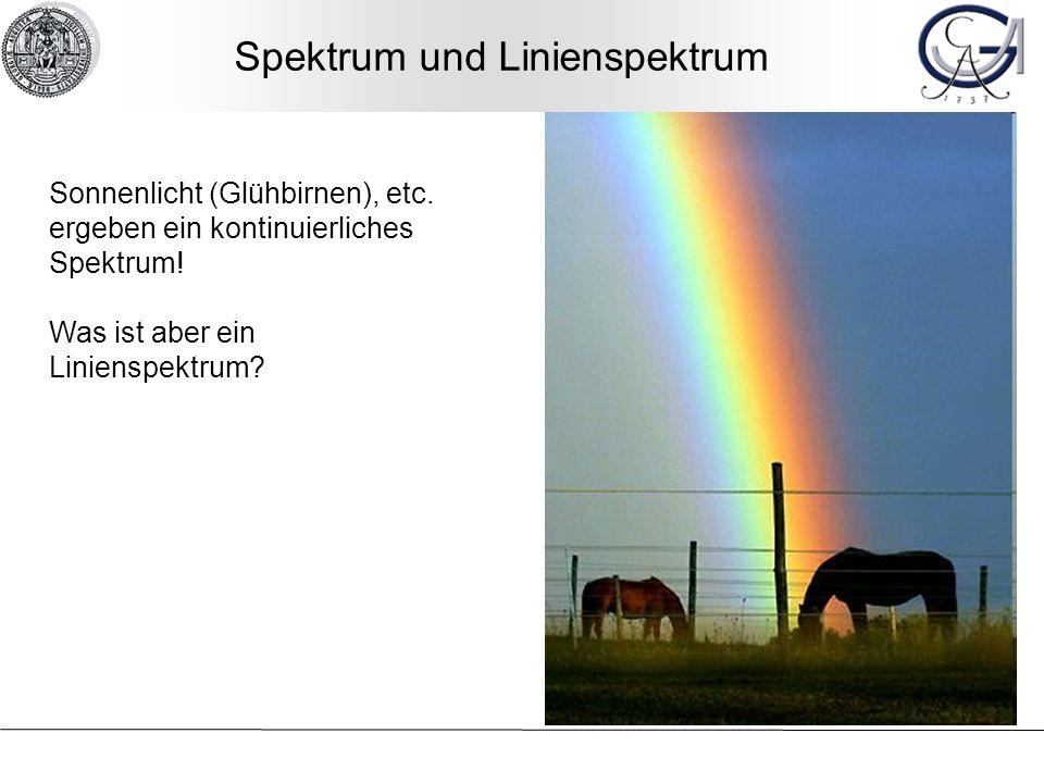 Spektrum und Linienspektrum Sonnenlicht (Glühbirnen), etc. ergeben ein kontinuierliches Spektrum! Was ist aber ein Linienspektrum?