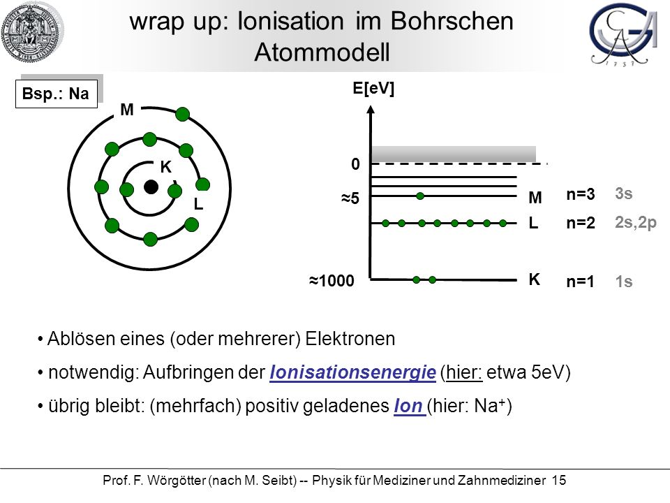 Prof. F. Wörgötter (nach M. Seibt) -- Physik für Mediziner und Zahnmediziner 15 wrap up: Ionisation im Bohrschen Atommodell 0 E[eV] 5 1000 K L M K L M