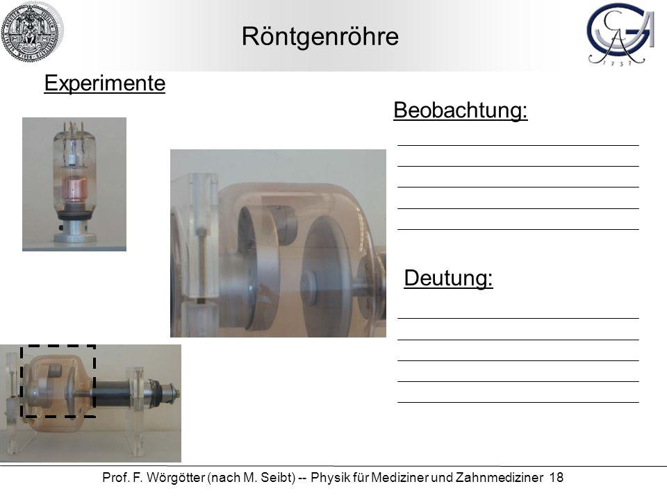 Prof. F. Wörgötter (nach M. Seibt) -- Physik für Mediziner und Zahnmediziner 18 Röntgenröhre Beobachtung: Deutung: Experimente