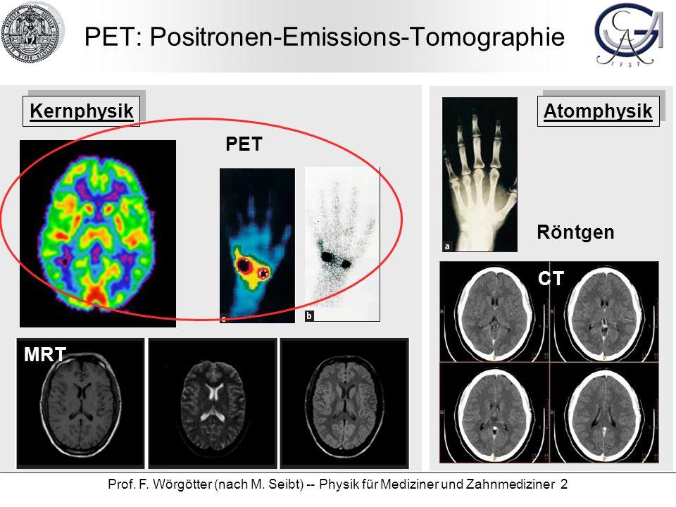 Prof. F. Wörgötter (nach M. Seibt) -- Physik für Mediziner und Zahnmediziner 2 PET: Positronen-Emissions-Tomographie Röntgen CT PET MRT Kernphysik Ato