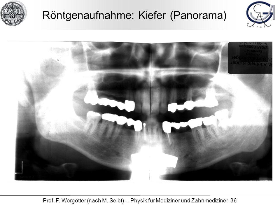 Prof. F. Wörgötter (nach M. Seibt) -- Physik für Mediziner und Zahnmediziner 36 Röntgenaufnahme: Kiefer (Panorama)