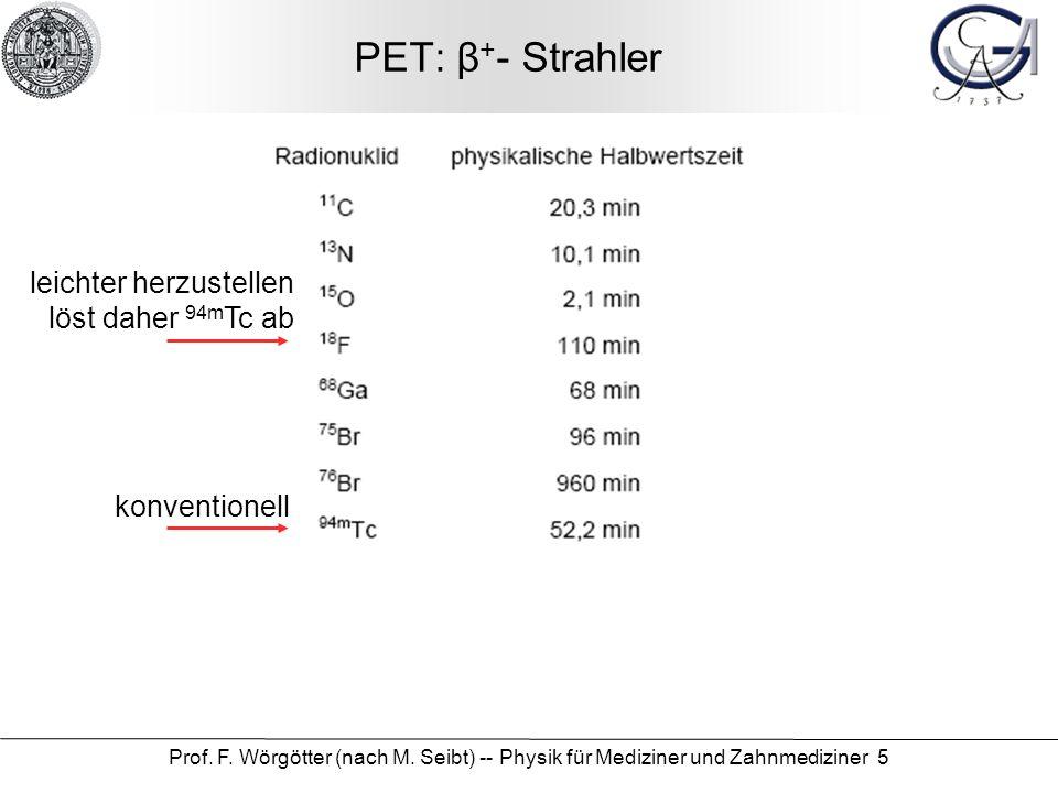 Prof. F. Wörgötter (nach M. Seibt) -- Physik für Mediziner und Zahnmediziner 5 PET: β + - Strahler konventionell leichter herzustellen löst daher 94m