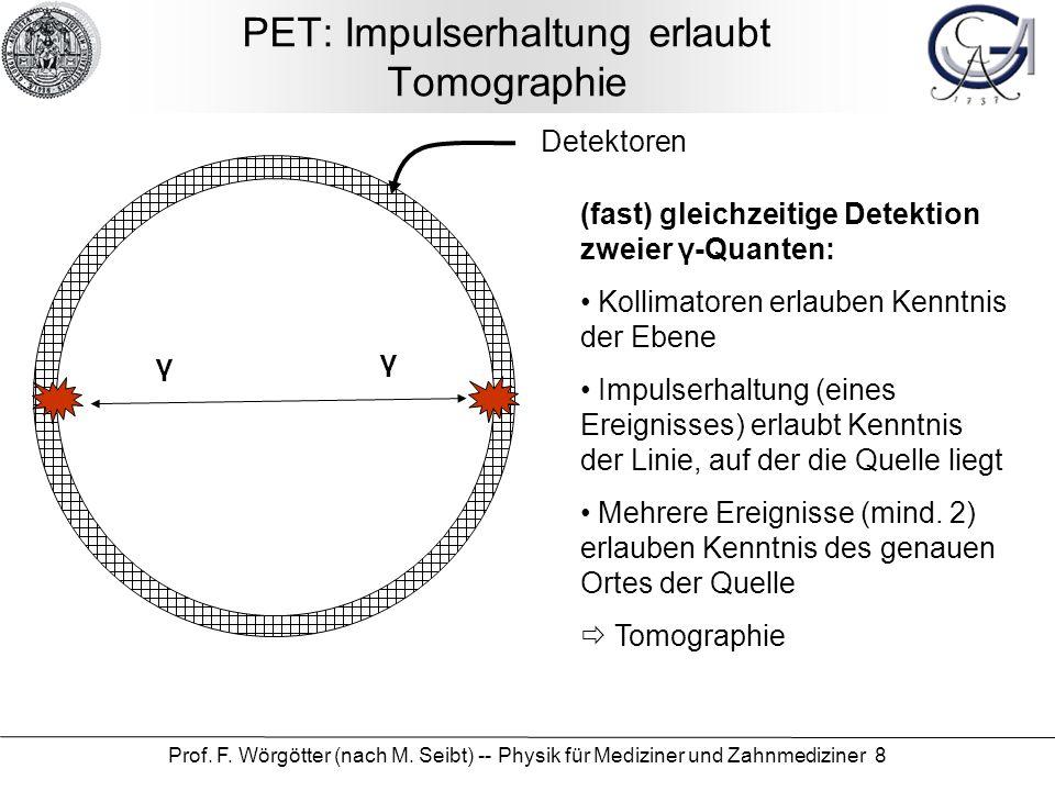 Prof. F. Wörgötter (nach M. Seibt) -- Physik für Mediziner und Zahnmediziner 8 PET: Impulserhaltung erlaubt Tomographie γ γ Detektoren (fast) gleichze