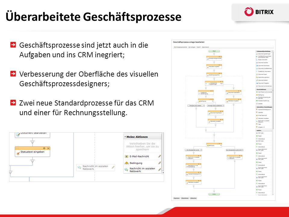 Überarbeitete Geschäftsprozesse Geschäftsprozesse sind jetzt auch in die Aufgaben und ins CRM inegriert; Verbesserung der Oberfläche des visuellen Geschäftsprozessdesigners; Zwei neue Standardprozesse für das CRM und einer für Rechnungsstellung.