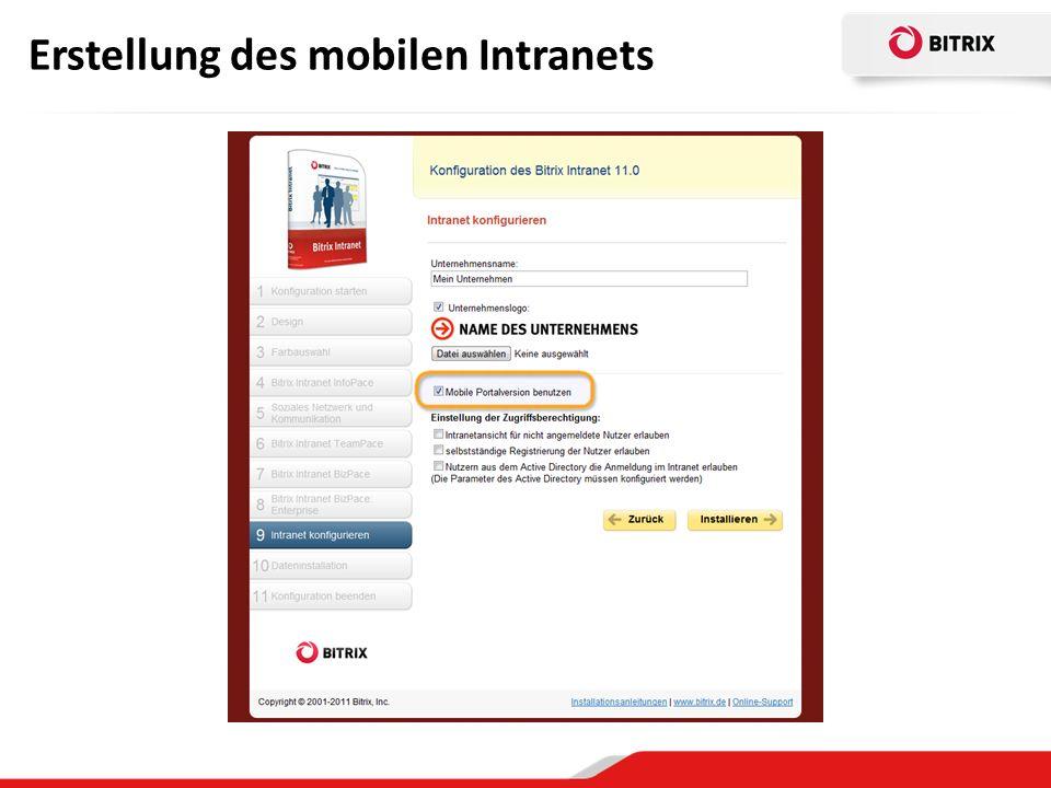 Erstellung des mobilen Intranets