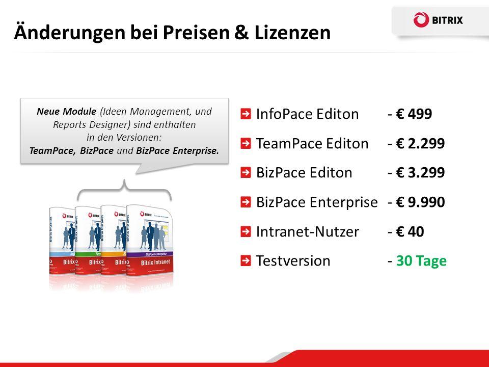 Änderungen bei Preisen & Lizenzen Neue Module (Ideen Management, und Reports Designer) sind enthalten in den Versionen: TeamPace, BizPace und BizPace Enterprise.