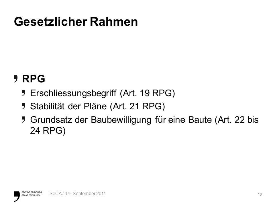 10 SeCA / 14. September 2011 Gesetzlicher Rahmen RPG Erschliessungsbegriff (Art.