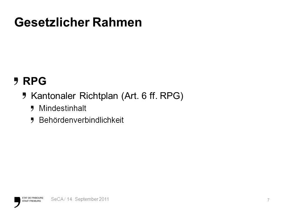 7 SeCA / 14. September 2011 Gesetzlicher Rahmen RPG Kantonaler Richtplan (Art.