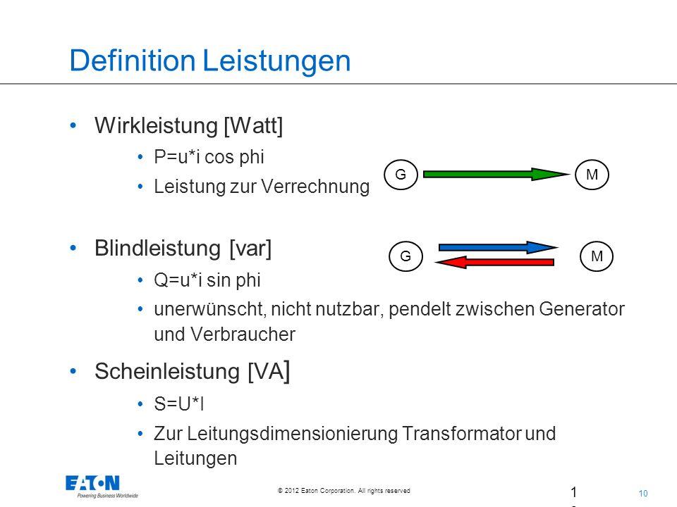 10 © 2012 Eaton Corporation. All rights reserved. 10 02. Jul. 200 9 Definition Leistungen Wirkleistung [Watt] P=u*i cos phi Leistung zur Verrechnung B