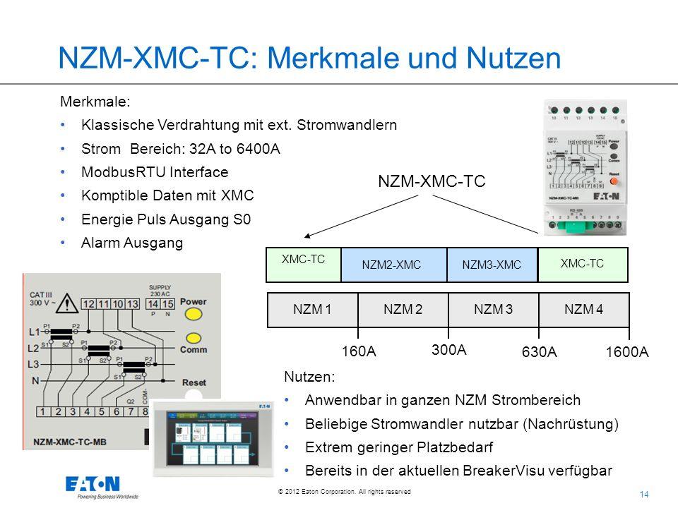 14 © 2012 Eaton Corporation. All rights reserved. NZM-XMC-TC: Merkmale und Nutzen Merkmale: Klassische Verdrahtung mit ext. Stromwandlern Strom Bereic
