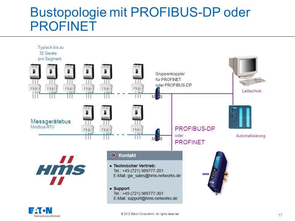 17 © 2012 Eaton Corporation. All rights reserved. Bustopologie mit PROFIBUS-DP oder PROFINET Messgerätebus Modbus RTU Typisch bis zu 32 Geräte pro Seg