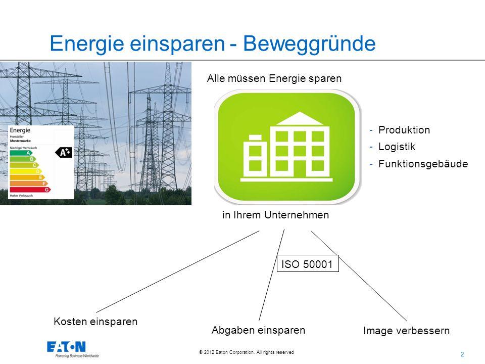 2 2 © 2012 Eaton Corporation. All rights reserved. Energie einsparen - Beweggründe Alle müssen Energie sparen am besten die eigene Kosten einsparen Ab
