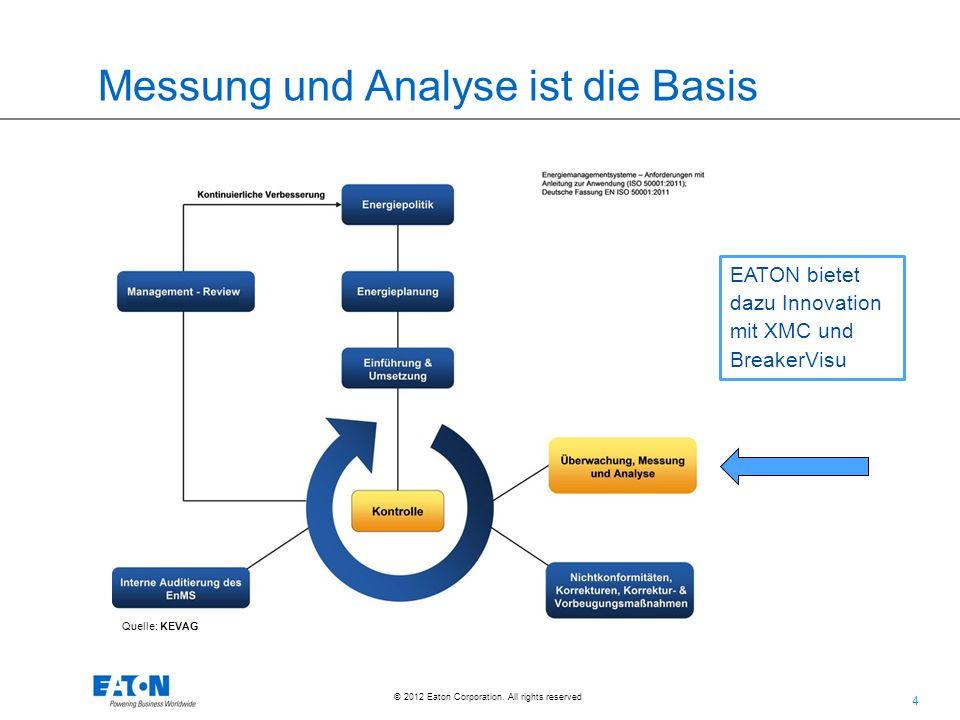 4 4 © 2012 Eaton Corporation. All rights reserved. Messung und Analyse ist die Basis Quelle: KEVAG EATON bietet dazu Innovation mit XMC und BreakerVis