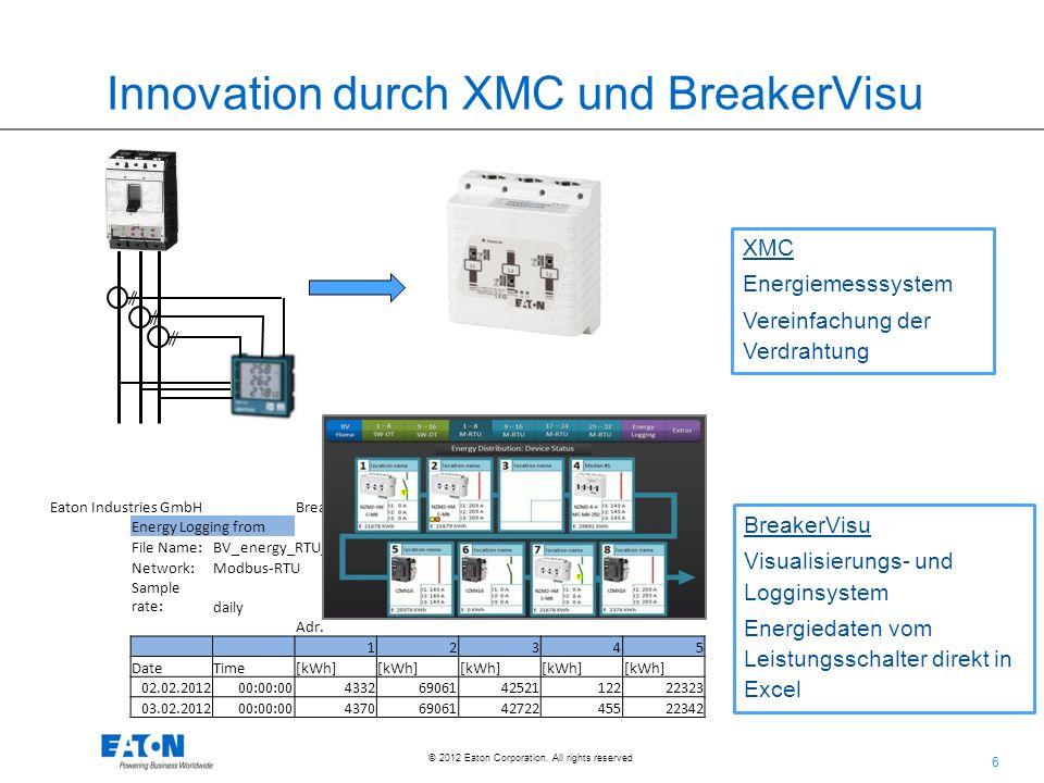 6 6 © 2012 Eaton Corporation. All rights reserved. Innovation durch XMC und BreakerVisu XMC Energiemesssystem Vereinfachung der Verdrahtung BreakerVis