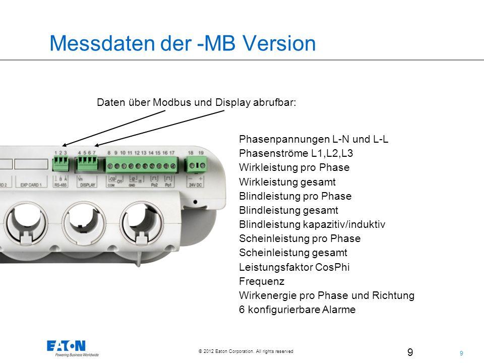 9 9 © 2012 Eaton Corporation. All rights reserved. 9 Messdaten der -MB Version Daten über Modbus und Display abrufbar: Phasenpannungen L-N und L-L Pha