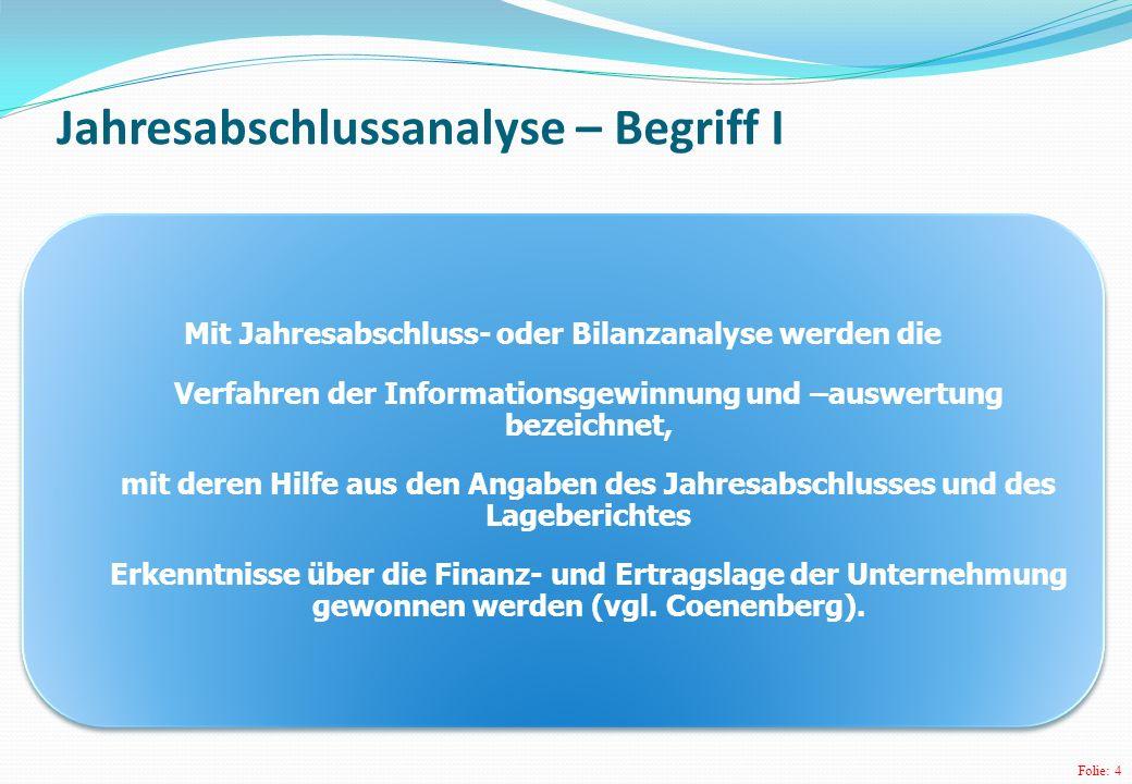 Folie: 5 Jahresabschlussanalyse – Begriff II (Externe) Jahresabschlussanalyse:= systematisches Verfahren der Ausschöpfung und Verarbeitung des Informationspotenzials von Bilanz, GuV, Anhang und Lagebericht.