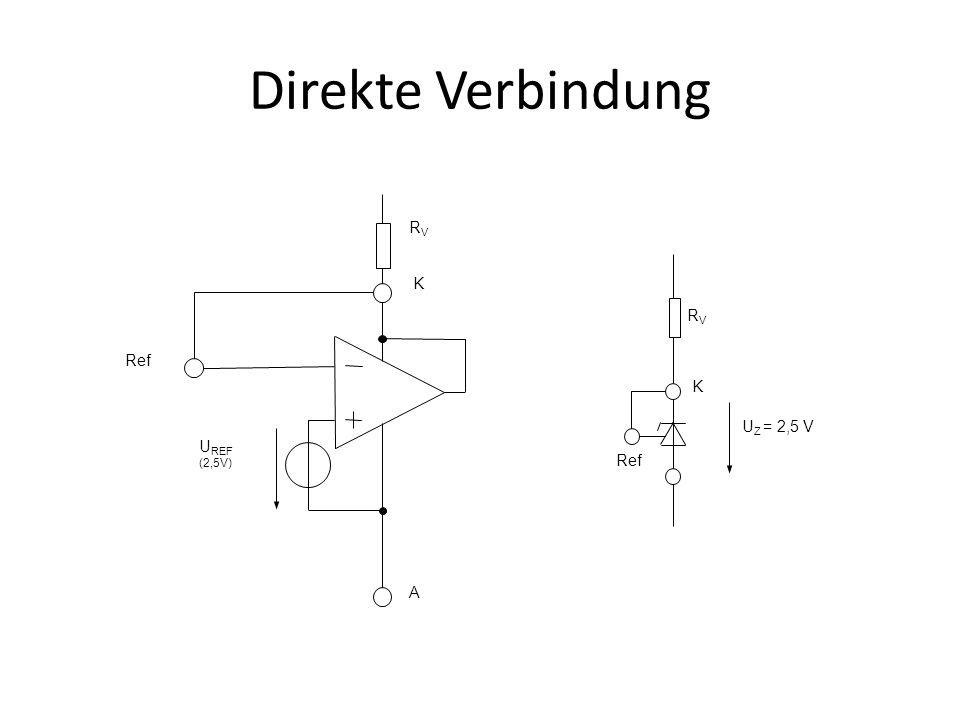 Direkte Verbindung U REF (2,5V) K A Ref RVRV K RVRV U Z = 2,5 V