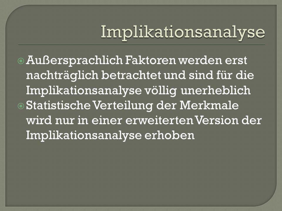 Außersprachlich Faktoren werden erst nachträglich betrachtet und sind für die Implikationsanalyse völlig unerheblich Statistische Verteilung der Merkm