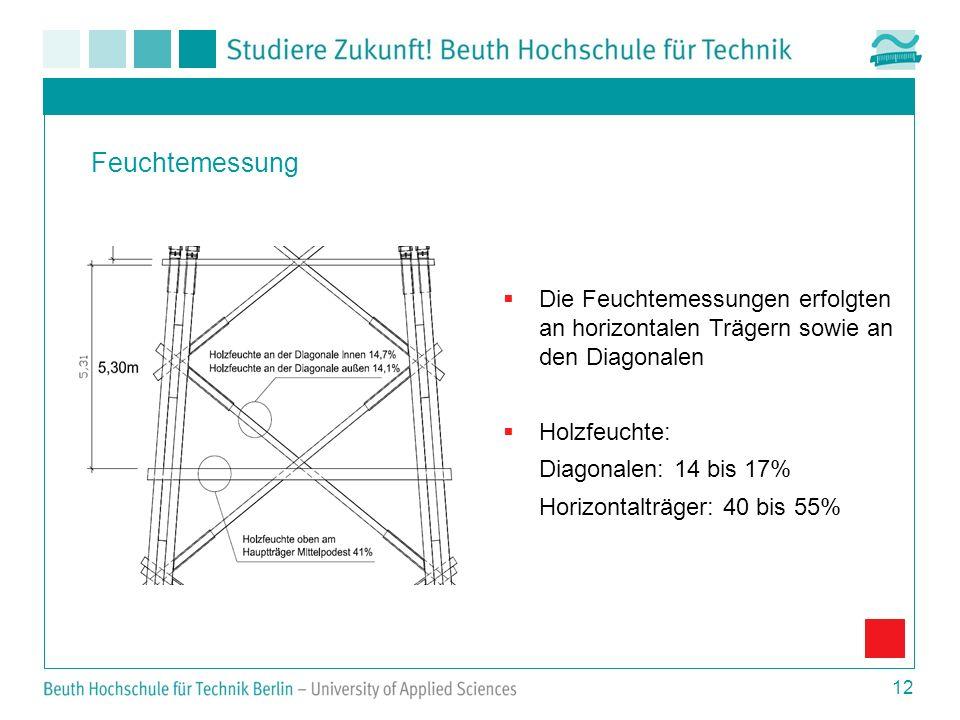 12 Feuchtemessung Die Feuchtemessungen erfolgten an horizontalen Trägern sowie an den Diagonalen Holzfeuchte: Diagonalen: 14 bis 17% Horizontalträger: