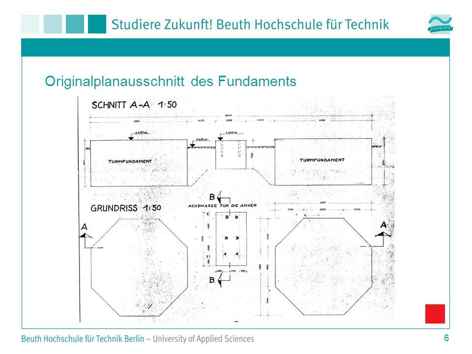 6 Originalplanausschnitt des Fundaments