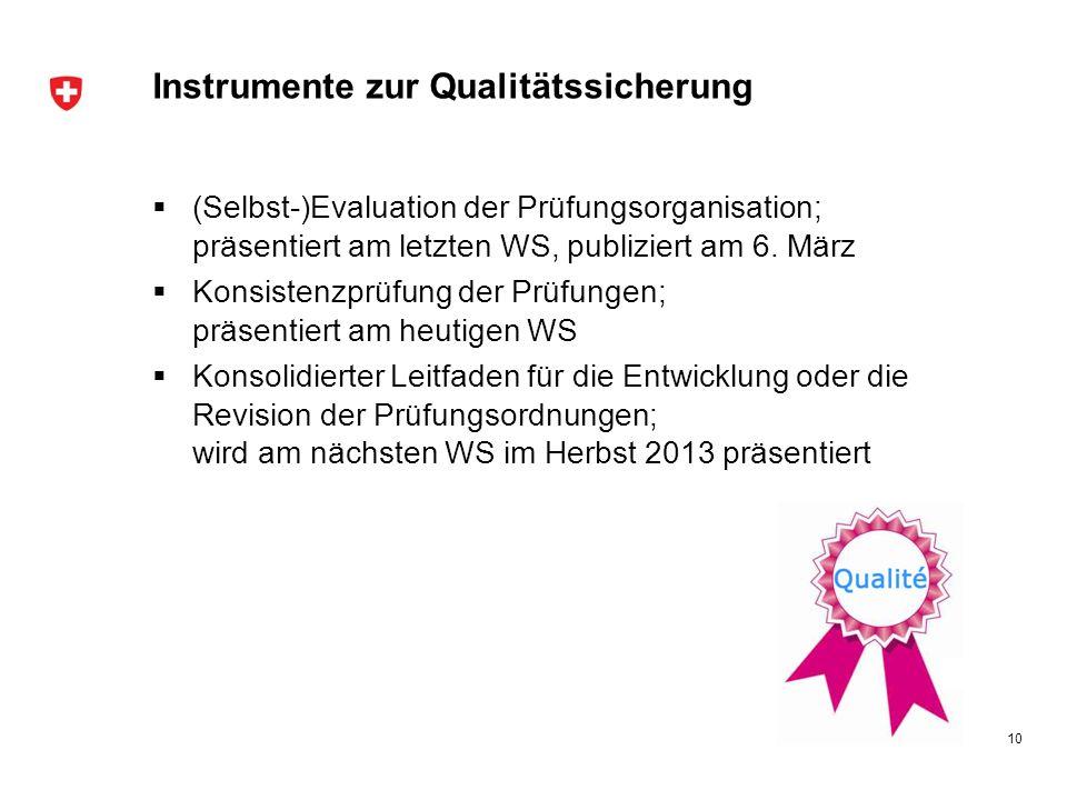 Instrumente zur Qualitätssicherung (Selbst-)Evaluation der Prüfungsorganisation; präsentiert am letzten WS, publiziert am 6. März Konsistenzprüfung de