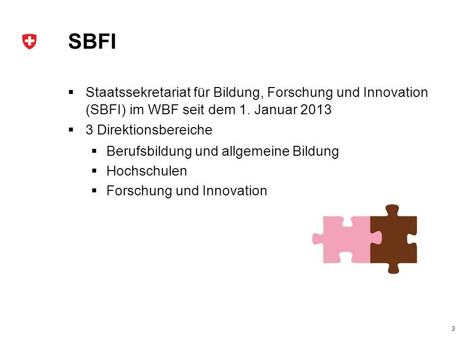 SBFI Staatssekretariat für Bildung, Forschung und Innovation (SBFI) im WBF seit dem 1. Januar 2013 3 Direktionsbereiche Berufsbildung und allgemeine B