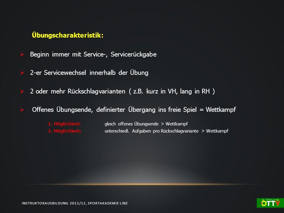 INSTRUKTORAUSBILDUNG 2011/12, SPORTAKADEMIE LINZ 4 Übungscharakteristik: Beginn immer mit Service-, Servicerückgabe 2-er Servicewechsel innerhalb der Übung 2 oder mehr Rückschlagvarianten ( z.B.