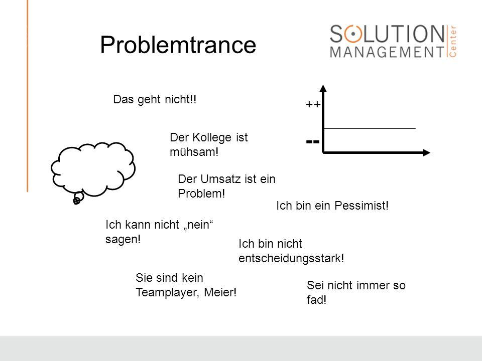 Problemtrance ++ -- Der Kollege ist mühsam! Der Umsatz ist ein Problem! Ich kann nicht nein sagen! Ich bin nicht entscheidungsstark! Ich bin ein Pessi