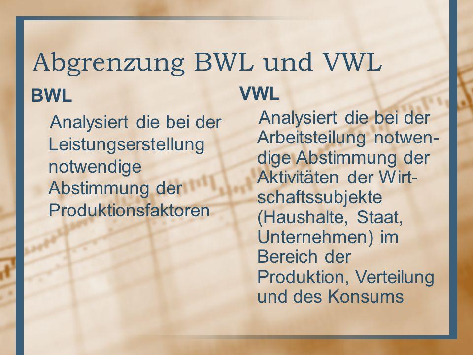Abgrenzung BWL und VWL BWL Analysiert die bei der Leistungserstellung notwendige Abstimmung der Produktionsfaktoren VWL Analysiert die bei der Arbeits