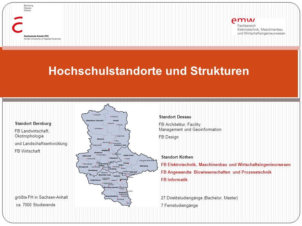 Hochschulstandorte und Strukturen Standort Dessau FB Architektur, Facility Management und Geoinformation FB Design Standort Bernburg FB Landwirtschaft