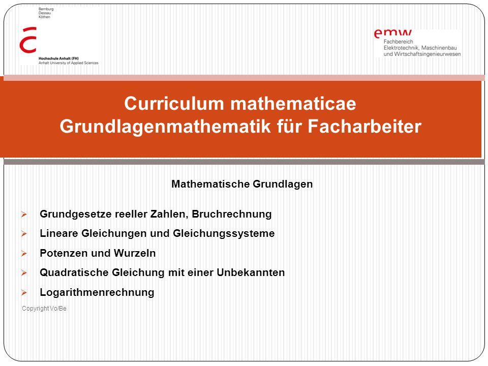 Mathematische Grundlagen Grundgesetze reeller Zahlen, Bruchrechnung Lineare Gleichungen und Gleichungssysteme Potenzen und Wurzeln Quadratische Gleich