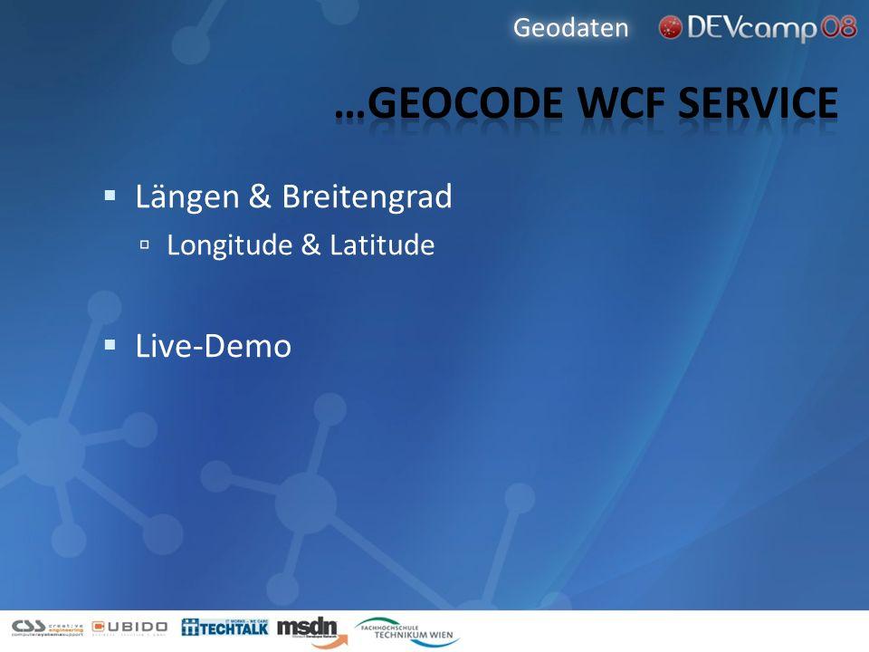 Längen & Breitengrad Longitude & Latitude Live-Demo Geodaten