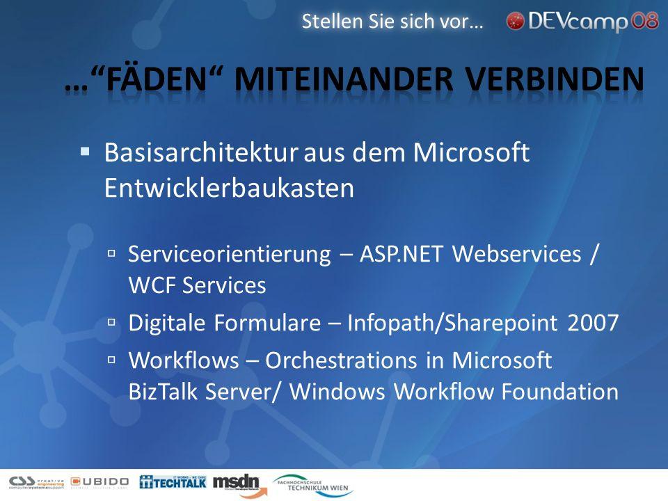 Basisarchitektur aus dem Microsoft Entwicklerbaukasten Serviceorientierung – ASP.NET Webservices / WCF Services Digitale Formulare – Infopath/Sharepoi