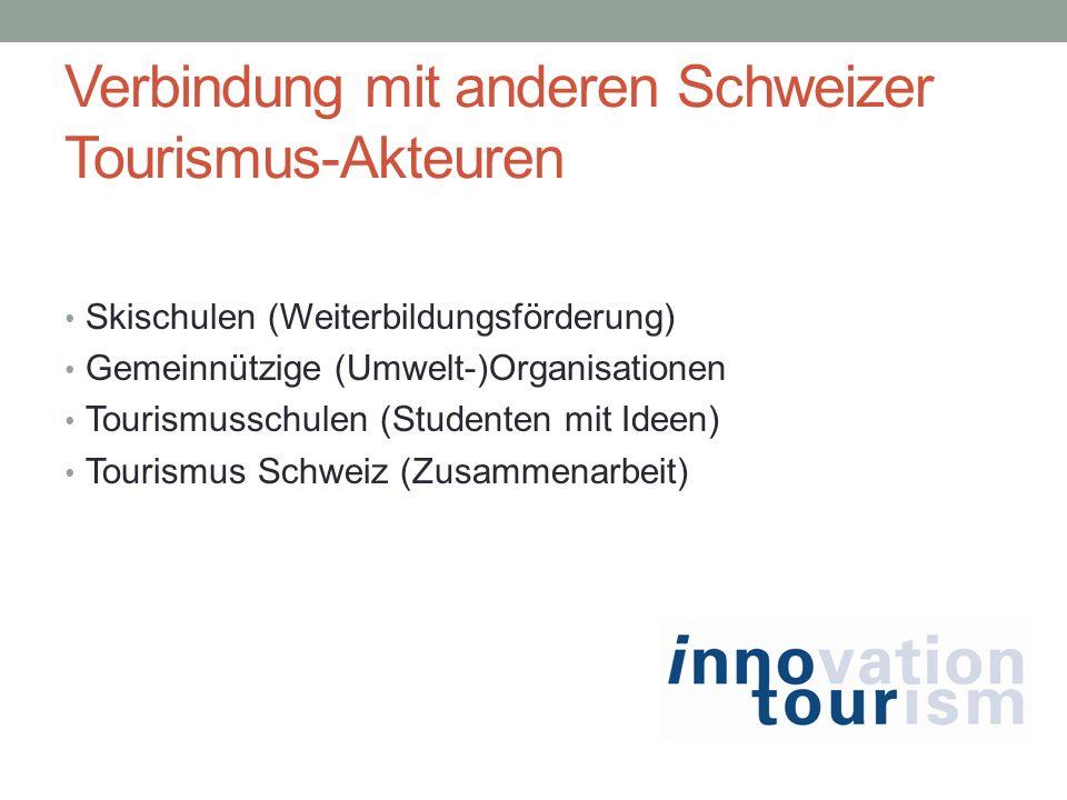 Verbindung mit anderen Schweizer Tourismus-Akteuren Skischulen (Weiterbildungsförderung) Gemeinnützige (Umwelt-)Organisationen Tourismusschulen (Studenten mit Ideen) Tourismus Schweiz (Zusammenarbeit)