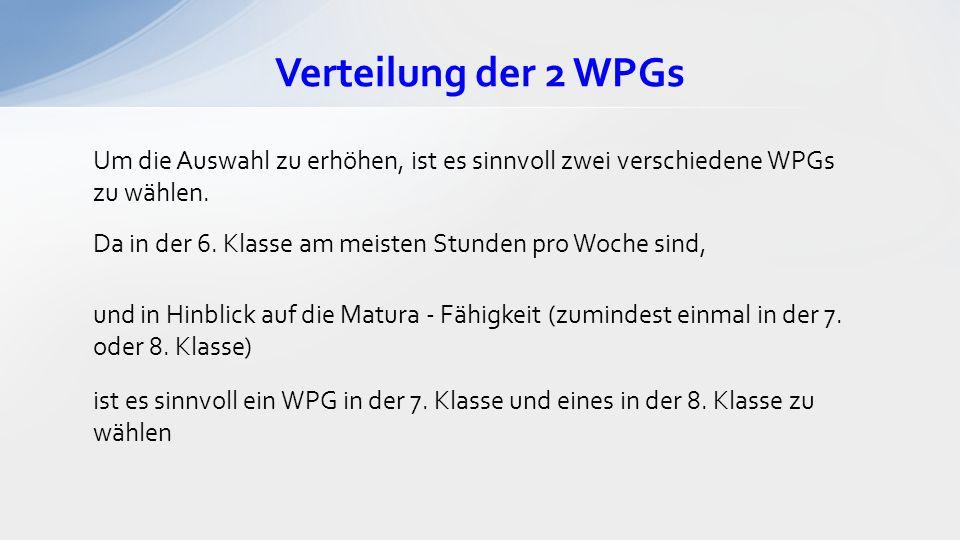 Verteilung der 2 WPGs Um die Auswahl zu erhöhen, ist es sinnvoll zwei verschiedene WPGs zu wählen. Da in der 6. Klasse am meisten Stunden pro Woche si